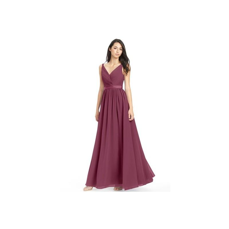 Mariage - Mulberry Azazie Leanna - Chiffon And Charmeuse Bow/Tie Back Floor Length V Neck Dress - Charming Bridesmaids Store