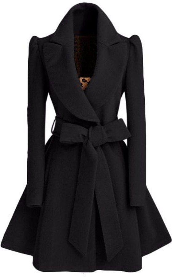 Hochzeit - Noble Turn-Down Collar Long Sleeve Pure Color Self Tie Belt Women's Coat Dress