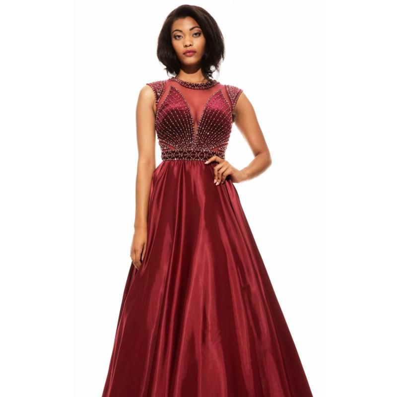 Wedding - Wine Beaded Ball Gown by Johnathan Kayne - Color Your Classy Wardrobe