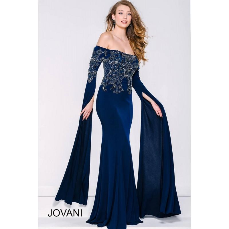 Wedding - Jovani 39530 Long Dress - Long Prom Fitted Jovani Off the Shoulder Dress - 2017 New Wedding Dresses