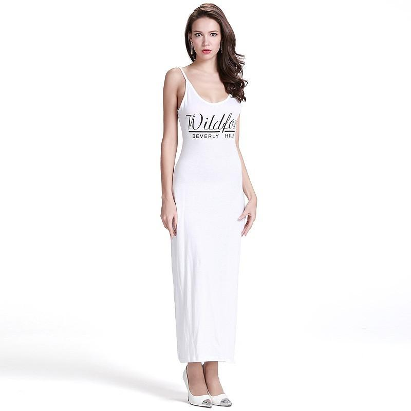 Wedding - New sexy summer Halter side slit letters printed strap solid color dress long dress - Bonny YZOZO Boutique Store