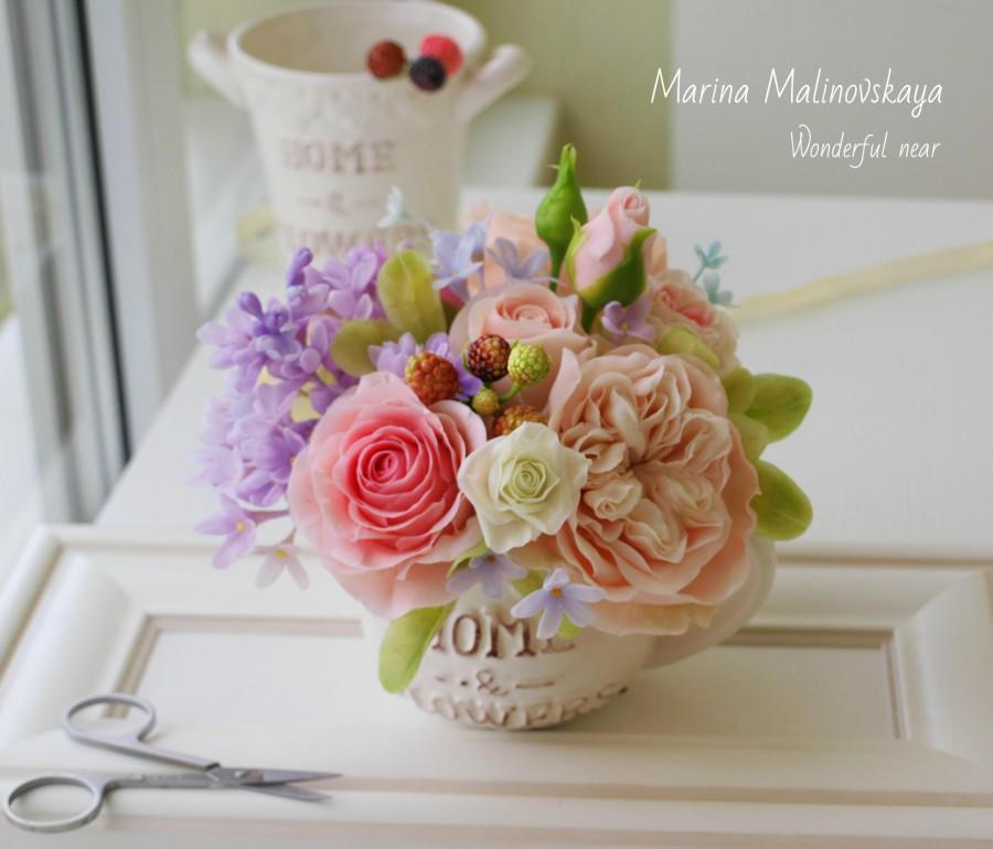 Wedding - Bouquet Provence .cold porcelain bouquet of roses, Flower Arrangement, Mother's Day, clay flowers,rustic