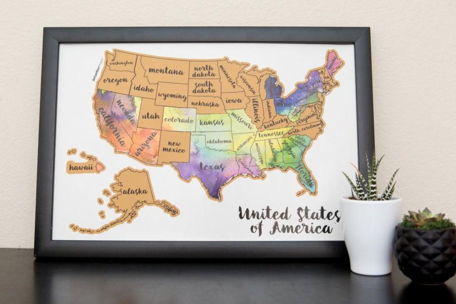 United States Of America US Watercolor Art - Scratch Your ...