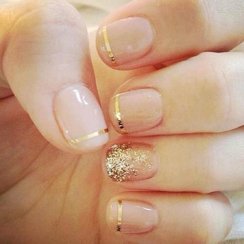 Wedding - Golden French Manicure