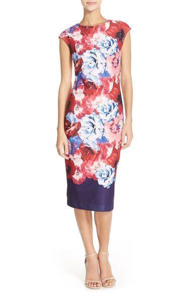 زفاف - Petite Women's Vince Camuto Floral Midi Sheath Dress