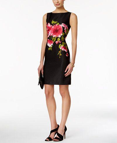 0b6b3d173c Tahari ASL Sleeveless Floral-Print Jacquard Sheath Dress - Dresses - Women  - Macy s