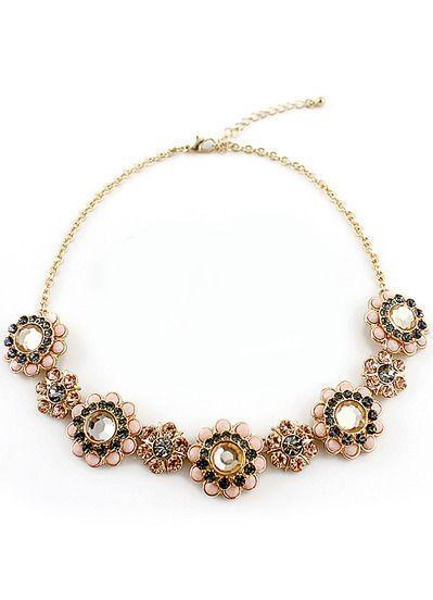 Hochzeit - Black Gemstone Gold Flowers Necklace - Sheinside.com