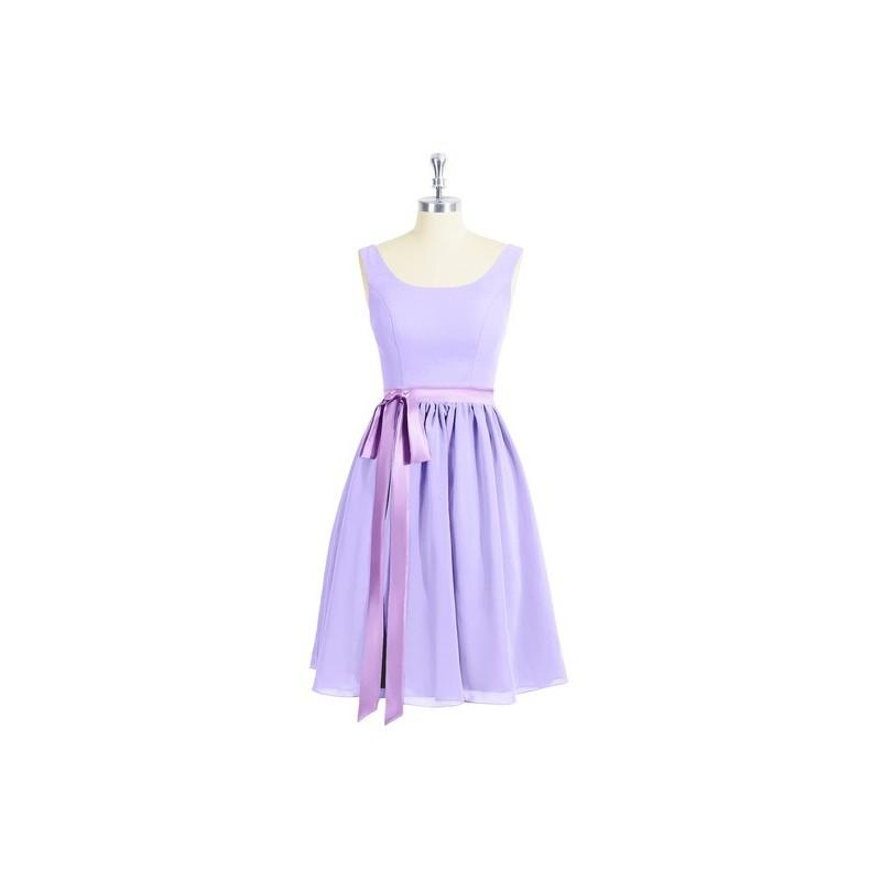 Mariage - Lilac Azazie Mila - Knee Length Scoop Chiffon And Charmeuse Scoop Dress - Cheap Gorgeous Bridesmaids Store