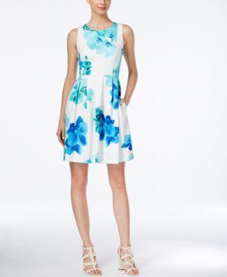 زفاف - Calvin Klein Sleeveless Printed Fit & Flare Dress - Dresses - Women - Macy's
