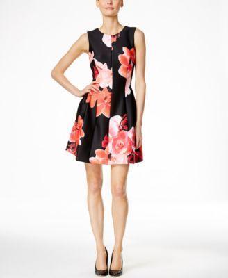 3d45f644286 Calvin Klein Floral-Print A-Line Dress - Calvin Klein Dresses - Women -  Macy s