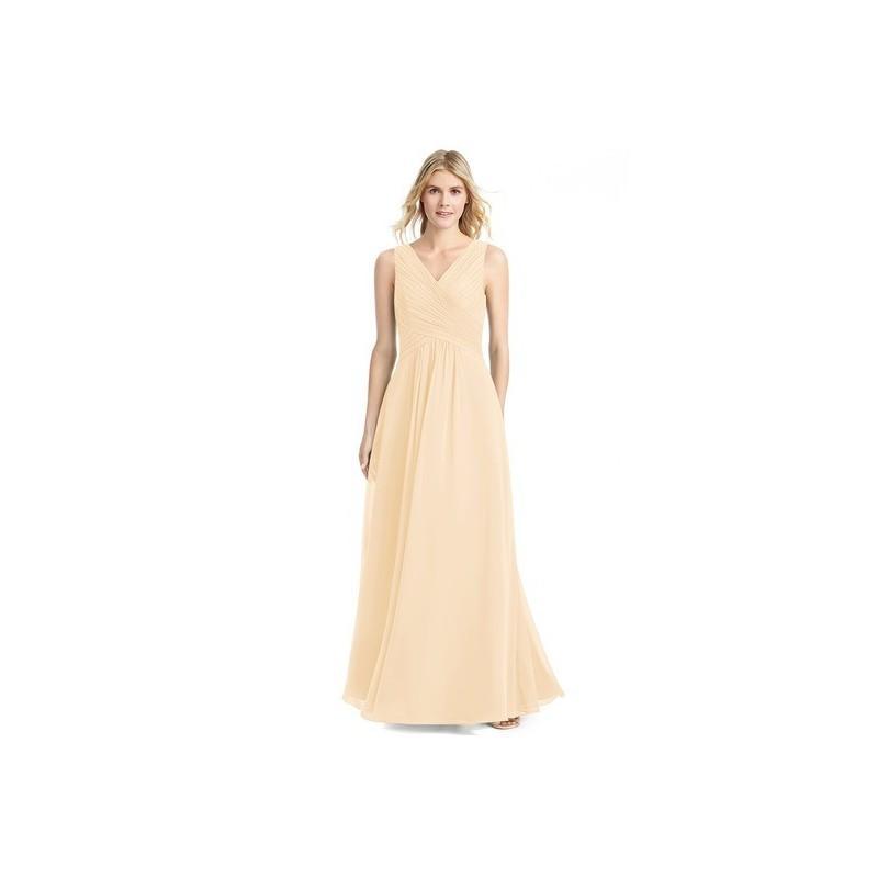 Wedding - Peach Azazie Flora - V Neck Chiffon Floor Length V Back Dress - Charming Bridesmaids Store