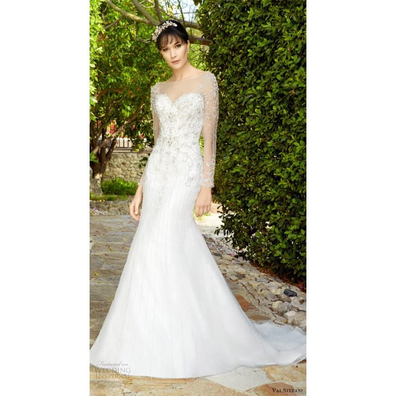 Hochzeit - Val Stefani D8134 KEATON Fall/Winter 2017 Wedding Gown Illusion Chapel Train Sweet Fall Long Sleeves Wedding Gown - Customize Your Prom Dress
