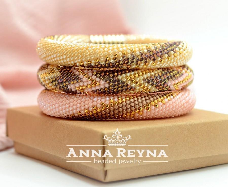 Свадьба - Beaded Crochet Necklace • Beaded Crochet Bracelet • Bracelet Set • Biege Gold Coral • Bangle Bracelet • Bracelets • Necklace-transformer