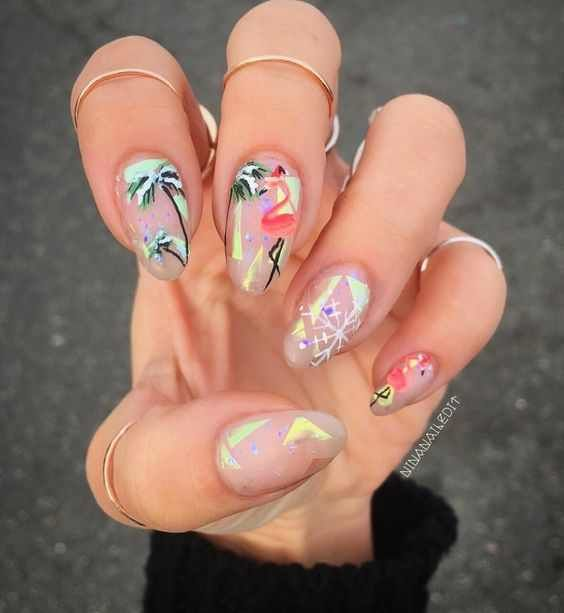 Wedding - Holographic Nail Art