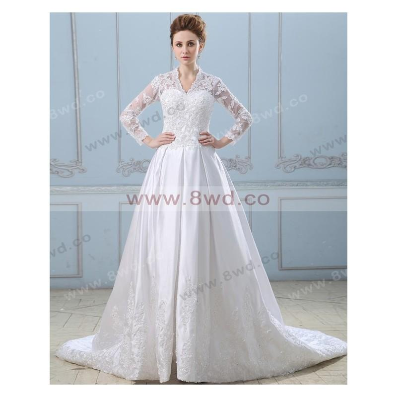 Wedding - A-line V-neck Long Sleeve Satin White Wedding Dress With Lace BUKCH179 In Canada Wedding Dress Prices - dressosity.com