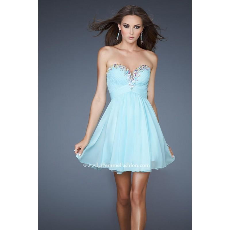 Wedding - La Femme Short Cocktail 18434 Ice Blue,Hot Coral,White Dress - The Unique Prom Store