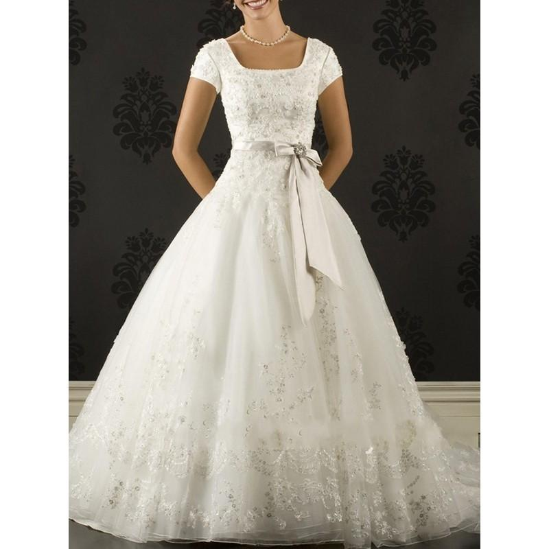 زفاف - Beautiful A-Line/Princess Organza Modest Wedding Dresses In Canada Wedding Dress Prices - dressosity.com