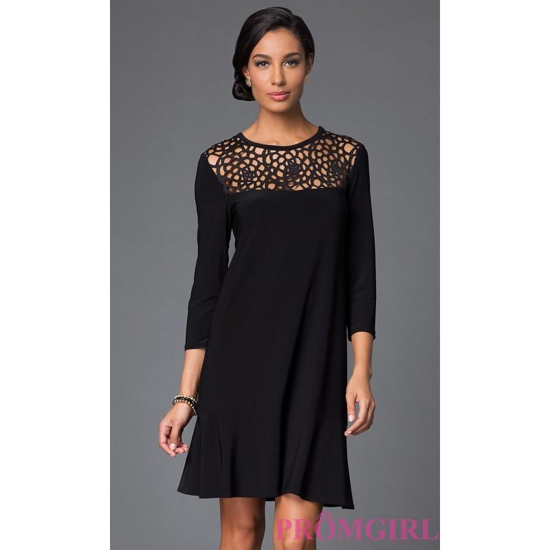 Short Black Dress With Three Quarter Length Sleeves By Tiana B