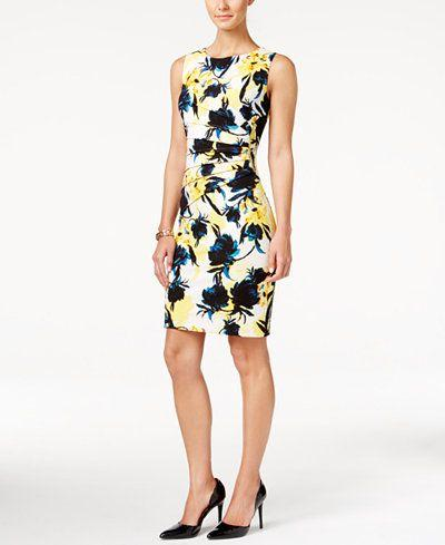 زفاف - Ivanka Trump Zipper-Trim Floral-Print Sheath Dress - Ivanka Trump - Women - Macy's