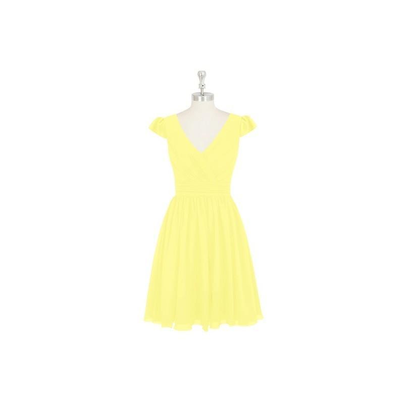 Wedding - Lemon Azazie Kierra - Knee Length V Neck Back Zip Chiffon Dress - Cheap Gorgeous Bridesmaids Store