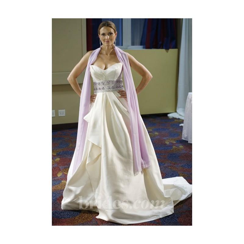 Wedding - Simone Carvalli - Spring 2013 - Strapless Satin Ball Gown Wedding Dress with Beaded Belt - Stunning Cheap Wedding Dresses