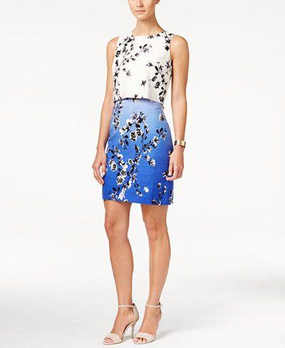 زفاف - Ivanka Trump Sleeveless Floral-Print Popover Dress - Ivanka Trump - Women - Macy's