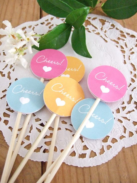 Wedding - 'Cheers' Drink Stirrers DIY With Free Printable