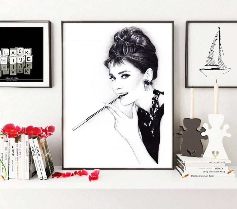 زفاف - Audrey Hepburn, Audrey Hepburn art, Breakfast at Tiffany's, Audrey Hepburn print, Audrey Hepburn poster, Fashion illustration, Fashion art