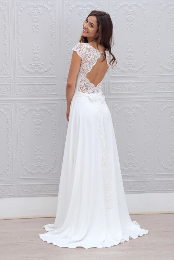 Embroidered Cap Sleeve Ivory Illusion A Line Long Vintage Chiffon Wedding  Dress Keyhole Back