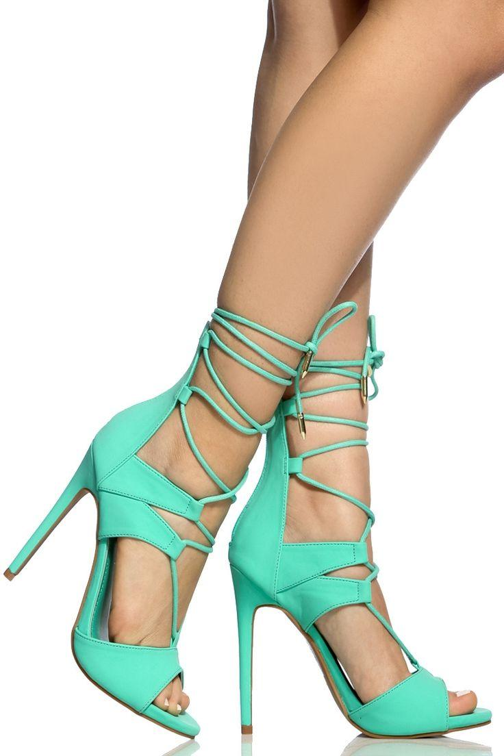 a342921bd0f6c Sea Green Faux Nubuck Lace Up Single Sole Heels @ Cicihot Heel Shoes Online  Store Sales:Stiletto Heel Shoes,High Heel Pumps,Womens High Heel Shoes,Prom  ...