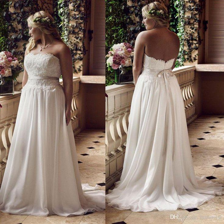 2016 Plus Size Backless Beach Wedding Dresses Lace Lique Strapless Bridal Gowns Sleeveless Long Sweep Train Chiffon Dress Short