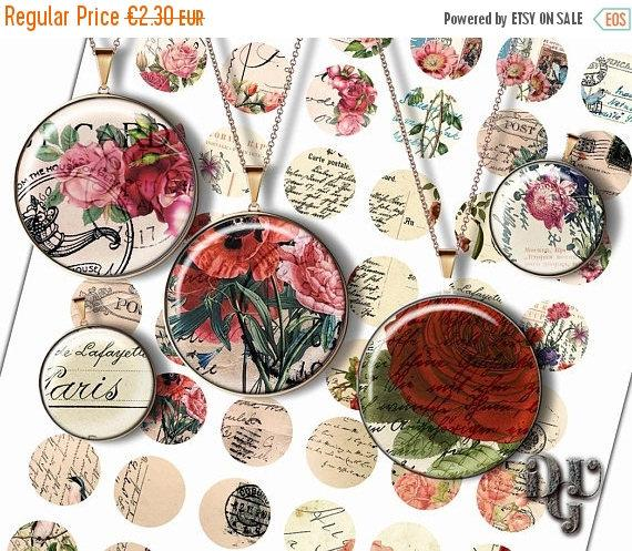 Wedding - 40% ANTIQUE POSTCARD 1 inch circle Digital Collage Sheet -  Antique Letters Instant Download Printable for jewelry pendants, bottle caps  C0