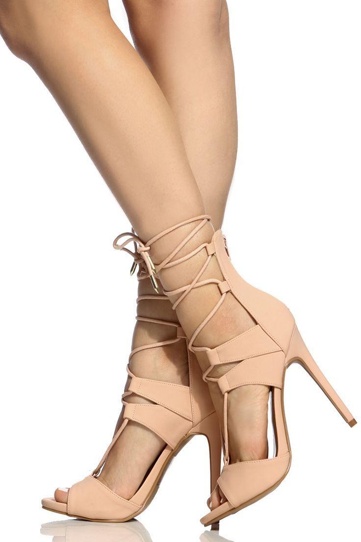 Hochzeit - Blush Faux Nubuck Lace Up Single Sole Heels @ Cicihot Heel Shoes Online Store Sales:Stiletto Heel Shoes,High Heel Pumps,Womens High Heel Shoes,Prom Shoes,Summer Shoes,Spring Shoes,Spool Heel,Womens Dress Shoes