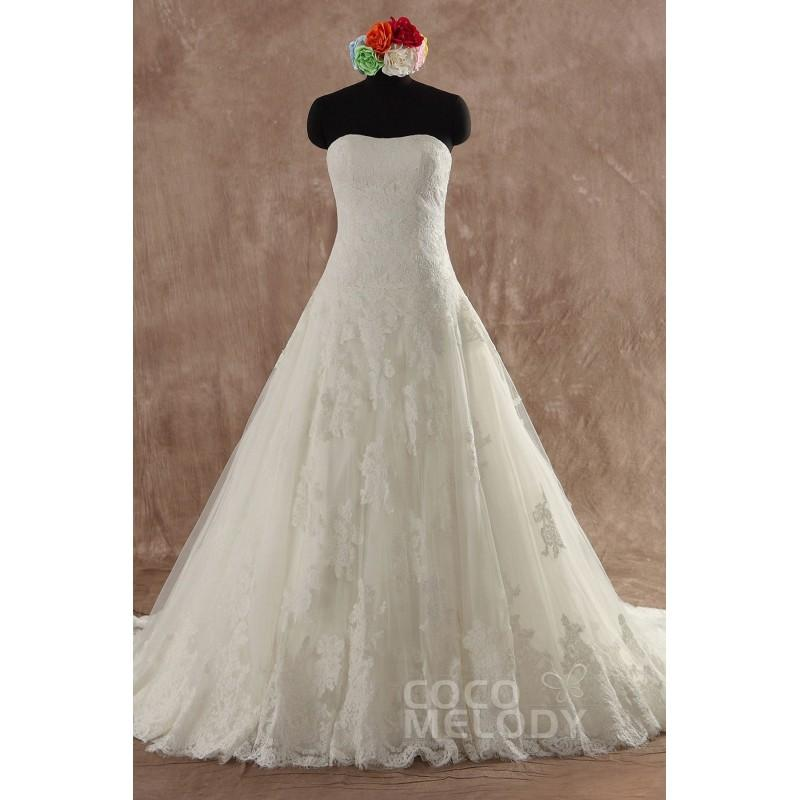Wedding - Classic A-Line Sweetheart Dropped Train Tulle Ivory Sleeveless Lace Up-Corset Wedding Dress with Appliques B14A0021 - Top Designer Wedding Online-Shop