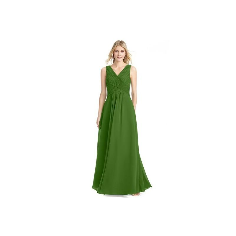 Moss Azazie Flora - V Back V Neck Floor Length Chiffon Dress ...