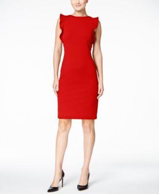 Wedding - Calvin Klein Ruffled U-Back Sheath Dress