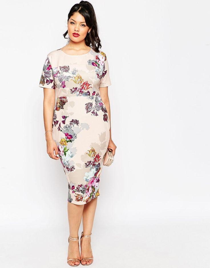 Wedding - CURVE Floral Print Scuba Body-Conscious Dress