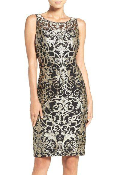 Свадьба - Metallic Embroidered Sheath Dress (Regular & Petite)