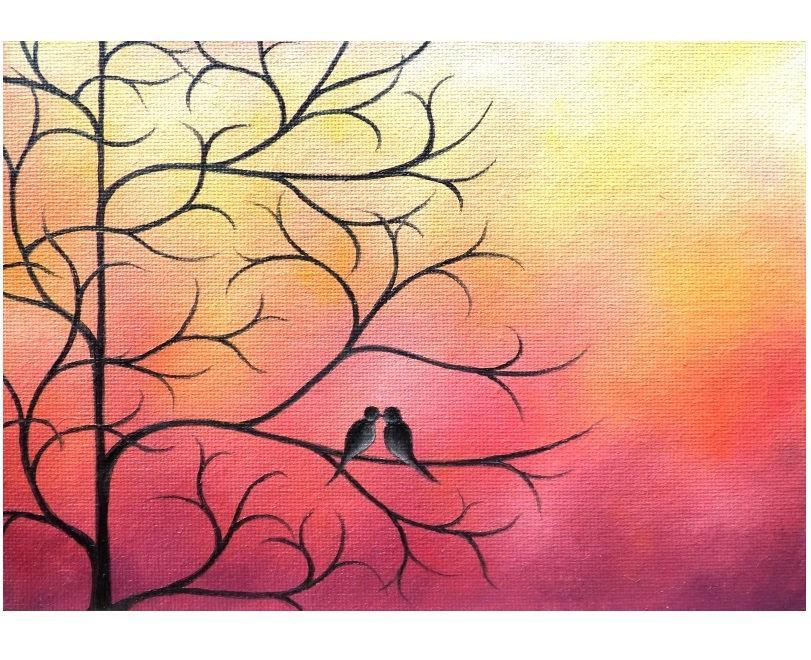 Love Birds Painting Birds On Tree Branch Whimsical Art
