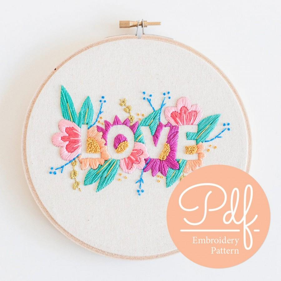 Свадьба - LOVE - Embroidery pattern - PDF Digital Download