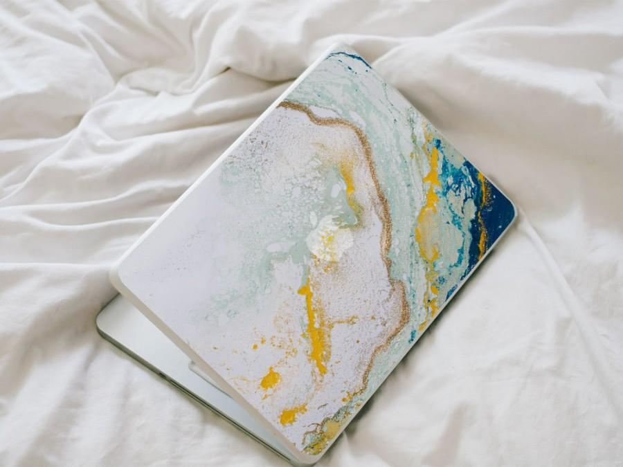 Свадьба - Glitter Agate MacBook Decal - Blue, Yellow, Mint and Gold Vinyl Laptop Skin