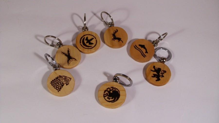 Свадьба - Game of Thrones Sigils Keychains, Baratheon, Arryn, Lannister, Bolton, Targaryen, Tully, Stark, Pyrography, Handmade, Wooden, Wood, Keychain