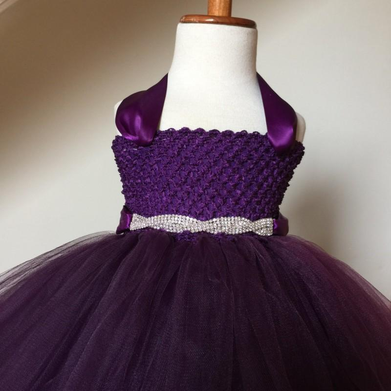 Wedding - Plum Flower Girl Tutu Dress with Rhinestone Sash, Flower Girl Dress- Rhinestone Sash- Baby Girl, Toddler, Girls - Hand-made Beautiful Dresses