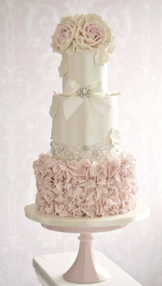 Cake - Pink And White Wedding Cake With Roses #2750360 - Weddbook