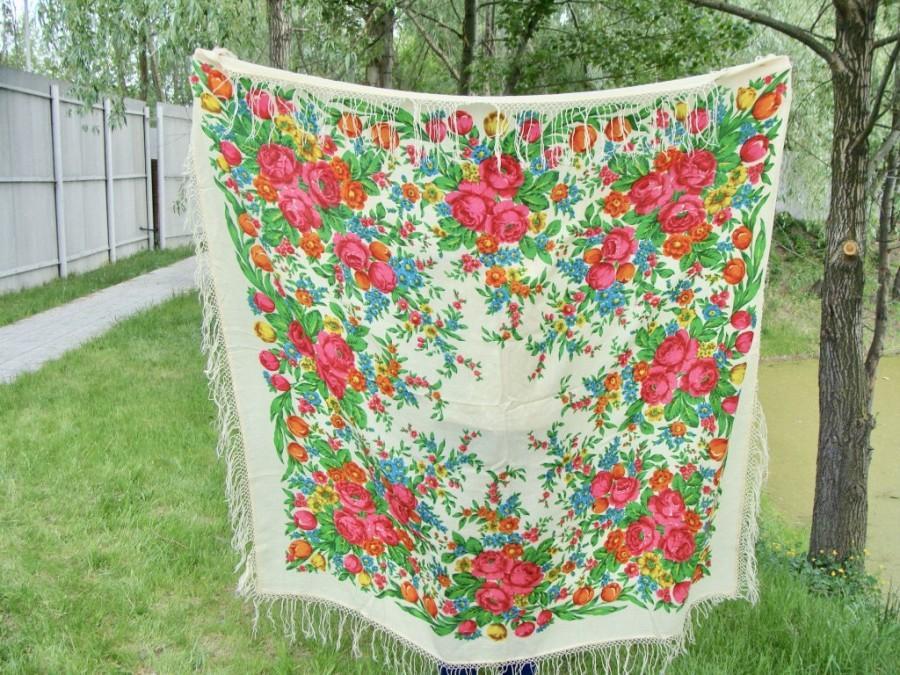 Wedding - Vintage Ukrainian shawl, Russian shawl, Wool floral scarf, White shawl, made in USSR