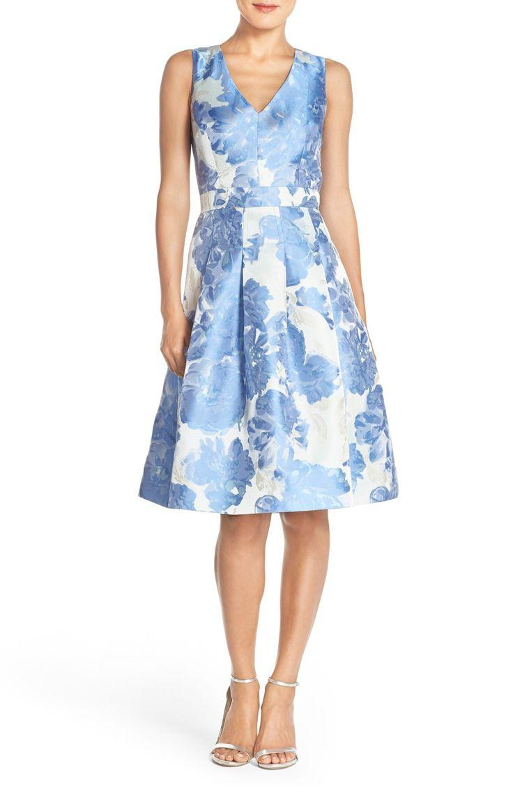 زفاف - Eliza J Floral Jacquard Fit & Flare Dress