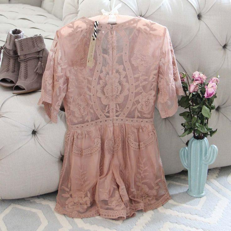 Hochzeit - Tainted Rose Lace Romper In Taupe