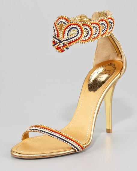 Hochzeit - Ankle-Wrap Zip Sandal
