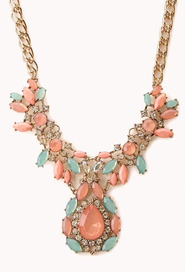 Hochzeit - Forever 21 Old Charm Faux Gemstone Bib Necklace