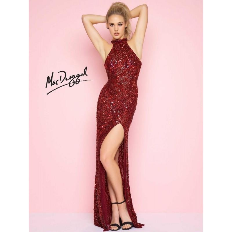 Wedding - Flash by Mac Duggal 4112L High Neck Sequin Gown - Brand Prom Dresses
